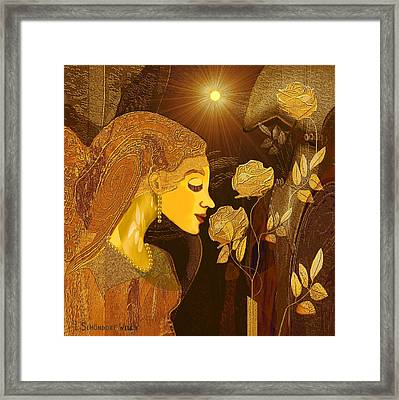 171 - Woman With Golden Roses     Framed Print by Irmgard Schoendorf Welch