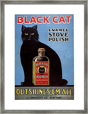 1920s Usa Cats Black Cat Enamel Stove Framed Print by The Advertising Archives