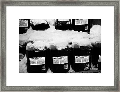 -40c Windshield Washer Fluid Covered In Snow For Sale Outside Store In Saskatoon Saskatchewan Canada Framed Print by Joe Fox