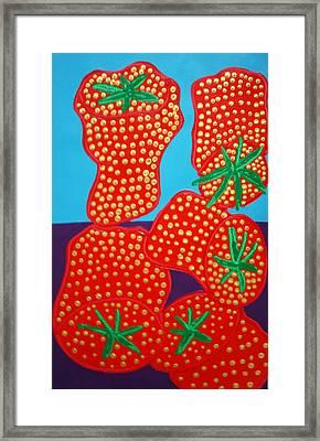 5 Big Strawberries Framed Print by Matthew Brzostoski