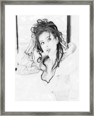 # 5 Monica Bellucci Portrait Framed Print by Alan Armstrong