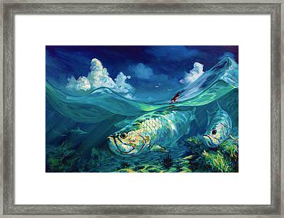 A Place I'd Rather Be - Caribbean Tarpon Fish Fly Fishing Painting Framed Print by Savlen Art