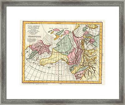 A Truly Fascinating 1772 Map Of The Northwestern Parts Of North America By Robert De Vaugondy And T Framed Print by Paul Fearn
