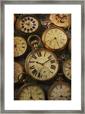Aged Pocket Watches Framed Print by Garry Gay