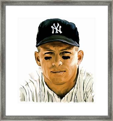 American Icon Mickey Mantle Framed Print by Iconic Images Art Gallery David Pucciarelli