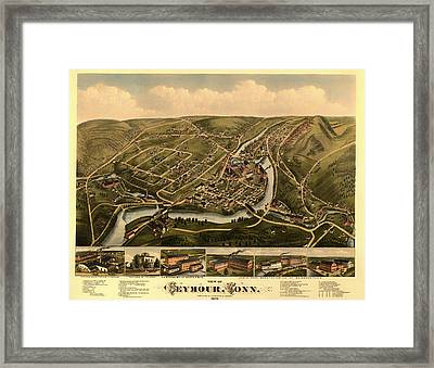 Antique Lithograph And Map Of Seymour Connecticut 1879 Framed Print by Mountain Dreams