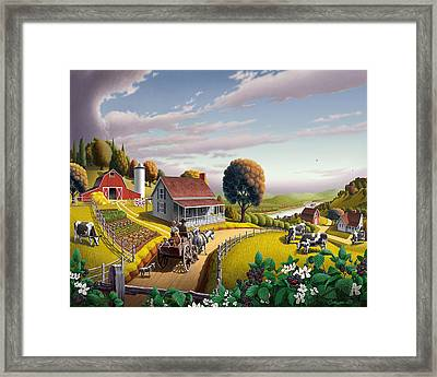 Appalachian Blackberry Patch Rustic Country Farm Folk Art Landscape - Rural Americana - Peaceful Framed Print by Walt Curlee