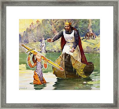 Arthur And Excalibur Framed Print by James Edwin McConnell