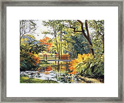 Autumn Water Bridge Framed Print by David Lloyd Glover