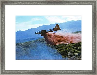 Framed Print featuring the photograph  B-17 Air Tanker Dropping Fire Retardant by Bill Gabbert