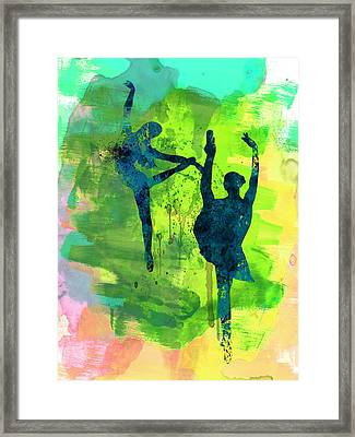 Ballet Watercolor 1 Framed Print by Naxart Studio