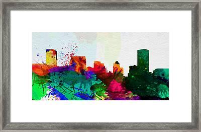 Baltimore City Skyline Framed Print by Naxart Studio