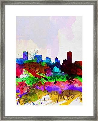 Baltimore Watercolor Skyline Framed Print by Naxart Studio