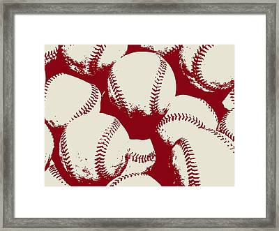Baseball Pop Art Red Framed Print by Flo Karp