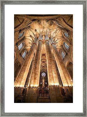 Basilica Of Santa Maria Del Mar In Barcelona Framed Print by Artur Bogacki