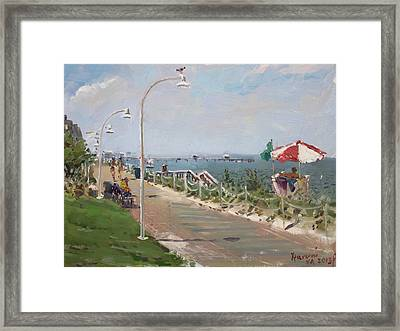 Beach Border Walk In Norfolk Va Framed Print by Ylli Haruni