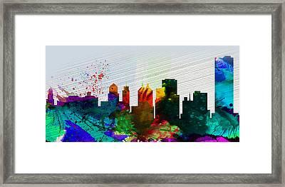 Buffalo City Skyline Framed Print by Naxart Studio