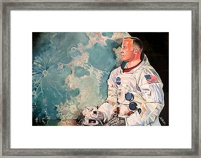 Buzz Aldrin Framed Print by Michael  Pattison