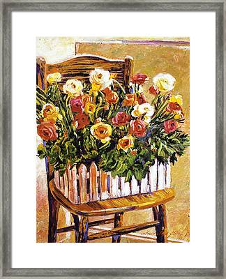 Chair Of Flowers Framed Print by David Lloyd Glover