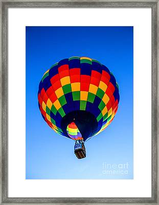 Checkered  Colored Hot Air Balloon  Framed Print by Robert Bales