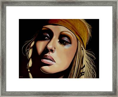 Christina Aguilera Painting Framed Print by Paul Meijering