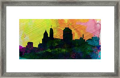 Cincinnati City Skyline Framed Print by Naxart Studio