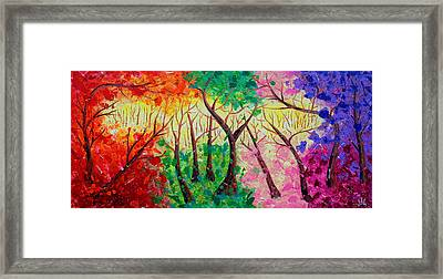 Colorful Mystical Forest Framed Print by Julia Apostolova