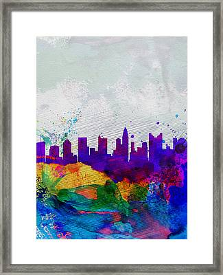 Columbus Watercolor Skyline Framed Print by Naxart Studio