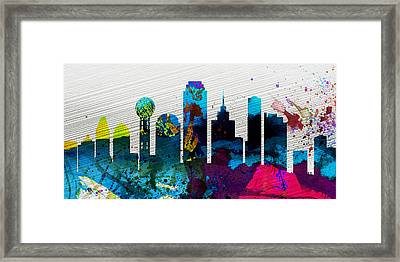 Dallas City Skyline Framed Print by Naxart Studio