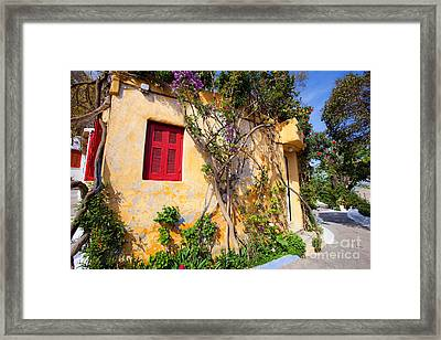 Decorated House With Plants Framed Print by Aiolos Greek Collections