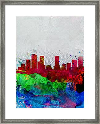 Denver Watercolor Skyline Framed Print by Naxart Studio