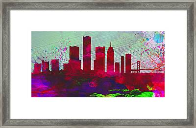 Detroit City Skyline Framed Print by Naxart Studio