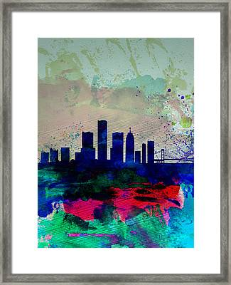 Detroit Watercolor Skyline Framed Print by Naxart Studio