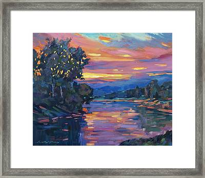 Dusk River Framed Print by David Lloyd Glover