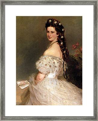 Empress Elisabeth Of Austria In Courtly Gala Dress With Diamond Stars.detail Framed Print by Franz Xaver Winterhalter