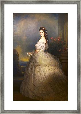 Empress Elisabeth Of Austria In State Robes With Diamond Stars In Her Hair Framed Print by Franz Xaver Winterhalter