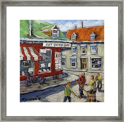 Faubourg A M'lasse Hockey Kids Montreal By Prankearts Framed Print by Richard T Pranke