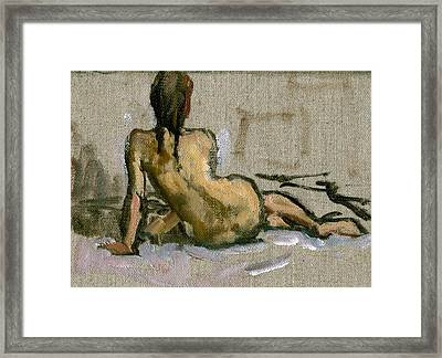 Figure Painting Seated Female Nude. Small Original Oil Sketch On Canvas Realist Figure Painting Framed Print by Thor Wickstrom