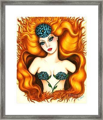 Flower In The Blaze Framed Print by Tara  Shalton
