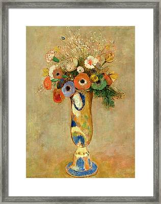 Flowers In A Painted Vase Framed Print by Odilon Redon