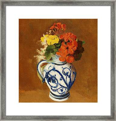 Geraniums And Other Flowers In A Stoneware Vase Framed Print by Odilon Redon