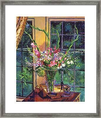 Gladiola Arrangement Framed Print by David Lloyd Glover