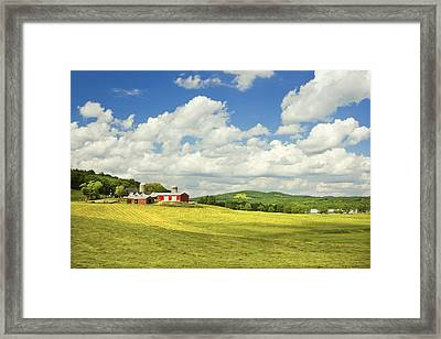 Hay Harvesting In Field Near Red Barn Maine Photograph Framed Print by Keith Webber Jr