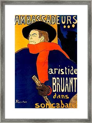 Henri De Toulouse Lautrec French 1864 1901 Aristide Bruant Dans Son Cabaret 1892 Framed Print by Anonymous