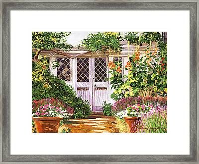 Hollyhock Gardens Framed Print by David Lloyd Glover