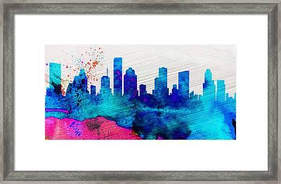 Houston City Skyline Framed Print by Naxart Studio