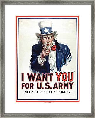 I Want You For The Us Army Recruitment Poster During World War I Framed Print by James Montgomery Flagg