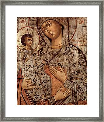 Icon Of The Blessed Virgin With Three Hands Framed Print by Novgorod School