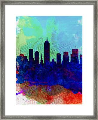 IIndianapolis Watercolor Skyline Framed Print by Naxart Studio