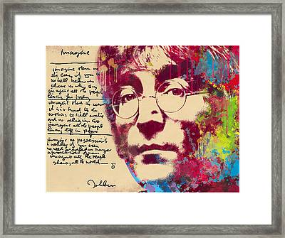 -imagine-john Lennon Framed Print by Vitaliy Shcherbak